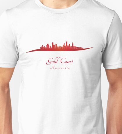 Gold Coast skyline in red Unisex T-Shirt