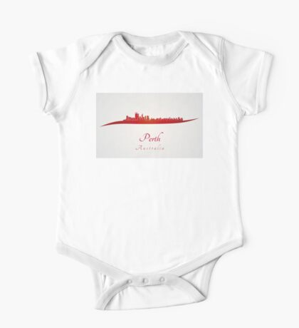 Perth skyline in red One Piece - Short Sleeve