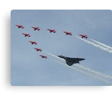 Red Arrows Flying With The Vulcan  Canvas Print