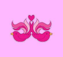 Pretty pink fancy decorative birds by jazzydevil