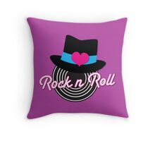 Rock n Roll cute record top hat Throw Pillow