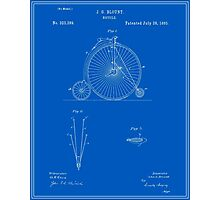 High Wheel Bicycle Patent - Blueprint Photographic Print