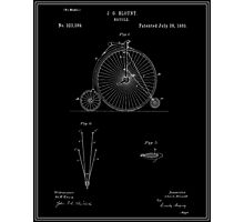 High Wheel Bicycle Patent - Black Photographic Print