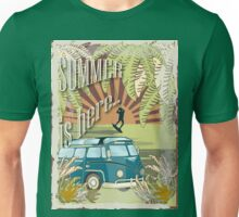 Retro kite surf illustration,Summer is here slogan, vintage, Vektor Vintage Bus ,llustration, concept Unisex T-Shirt