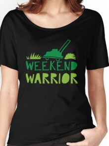 WEEKEND WARRIOR with green lawn mower Women's Relaxed Fit T-Shirt