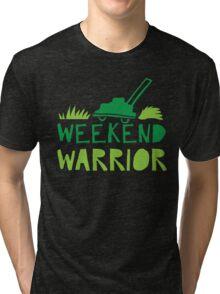 WEEKEND WARRIOR with green lawn mower Tri-blend T-Shirt