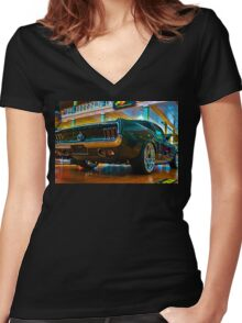 1967 Green Mustang Women's Fitted V-Neck T-Shirt