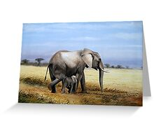 Mothers Love  Elephant and her Calf oil painting gifts Greeting Card