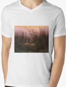 Swans among the Reeds at the first Morgenro by Caspar David Friedrich  Mens V-Neck T-Shirt