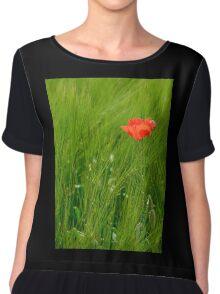 Poppy in Wheat Field Chiffon Top