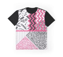 Retro 80's 90's Neon Pink Black White Scribbles Graphic T-Shirt
