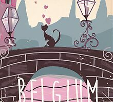 Belgium cartoon travel poster. by Nick  Greenaway