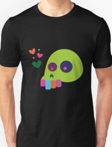 Colorful Cartoon Skull with Hearts Unisex T-Shirt