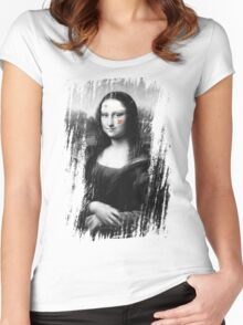 Restored Mona Lisa b Women's Fitted Scoop T-Shirt