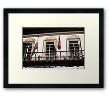 Balcony With Flags in Cuenca Framed Print