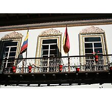 Balcony With Flags in Cuenca Photographic Print