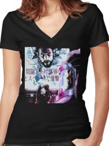 Bombed out in space with a spaced-out bomb ! Women's Fitted V-Neck T-Shirt