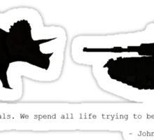 Lonely Dinosaur Meets Tank Sticker