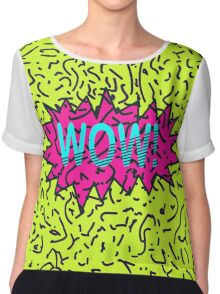Neon Retro 80's 90's Scribbled Wow! Typography Chiffon Top