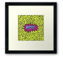 Neon Retro 80's 90's Scribbled Wow! Typography Framed Print