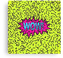 Neon Retro 80's 90's Scribbled Wow! Typography Canvas Print