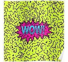 Neon Retro 80's 90's Scribbled Wow! Typography Poster