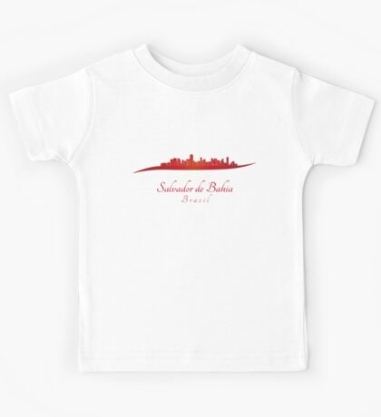 Salvador de Bahia skyline in red Kids Tee