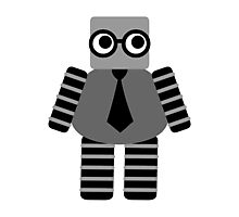 Cute Grey Geeky Robot Photographic Print