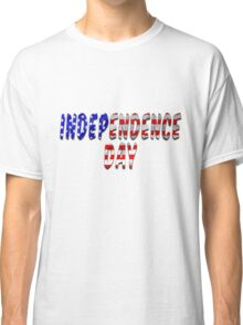 Independence Day Words With USA Flag Texture Classic T-Shirt