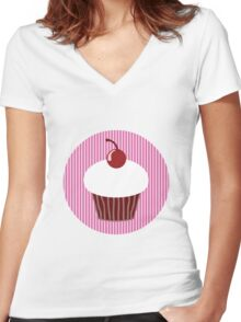 Vanilla Cupcake with Pink Stripes Women's Fitted V-Neck T-Shirt