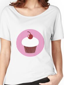 Vanilla Cupcake with Pink Stripes Women's Relaxed Fit T-Shirt