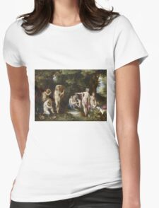 Jan Brueghel The Elder - Diana And Actaeon 1600. Vintage Baroque oil famous painting : lovely, woman ,  fantastic, diana, nude, beautiful, wonderful. Womens Fitted T-Shirt
