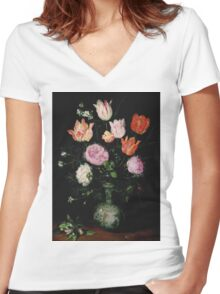 Jan Brueghel The Elder - Flowers In A Wan- Li Vase 1609. Vintage Baroque oil famous painting : still life with flowers, flowers, peonies, roses, tulips, floral flora, wonderful flower. Women's Fitted V-Neck T-Shirt