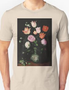 Jan Brueghel The Elder - Flowers In A Wan- Li Vase 1609. Vintage Baroque oil famous painting : still life with flowers, flowers, peonies, roses, tulips, floral flora, wonderful flower. Unisex T-Shirt