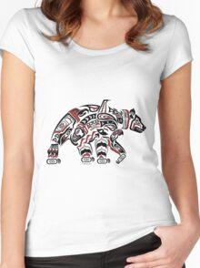 Kodiak - Original Haida, Tlingit Grizzly Bear Art - Red Women's Fitted Scoop T-Shirt