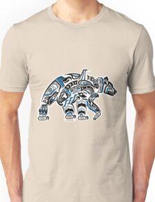 Kodiak - Original Haida, Tlingit Grizzly Bear Art - Blue Unisex T-Shirt