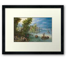 Jan Brueghel The Elder - River Landscape 1607. River landscape: trees, river, beach, bridge, riverside, waves and beach, marine naval navy, yachts and ships, sun and clouds, nautical panorama, lake Framed Print