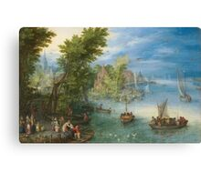 Jan Brueghel The Elder - River Landscape 1607. River landscape: trees, river, beach, bridge, riverside, waves and beach, marine naval navy, yachts and ships, sun and clouds, nautical panorama, lake Canvas Print
