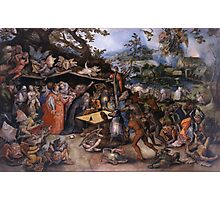 Jan Brueghel The Elder - Tentaciones De San Antonio Abad 1568. People portrait: party, woman and man, people, family, female and male, peasants, crowd, romance, women and men, city, home society Photographic Print