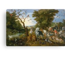 Jan Brueghel The Elder - The Entry Of The Animals Into Noah S Ark 1613. Animal portrait: cute cat, horse, race, man hobby, running, wild life, animal, racing mustang, hunt, cowboy, sport Canvas Print