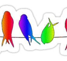 colorful birds on a wire Sticker
