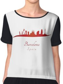 Barcelona skyline in red Women's Chiffon Top