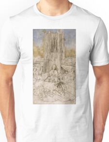 Jan Van Eyck - Saint Barbara. Woman portrait: sensual woman, girly art, female style, pretty women, femine, beautiful dress, cute, creativity, love, sexy lady, erotic pose Unisex T-Shirt