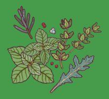 dark herbs pattern One Piece - Short Sleeve