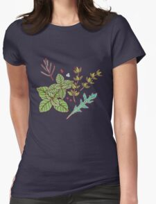 dark herbs pattern Womens Fitted T-Shirt