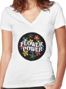 Flower Power Women's Fitted V-Neck T-Shirt