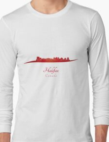 Halifax skyline in red Long Sleeve T-Shirt
