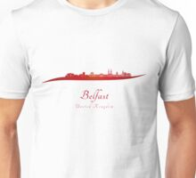Belfast skyline in red Unisex T-Shirt