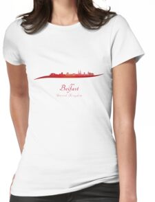 Belfast skyline in red Womens Fitted T-Shirt