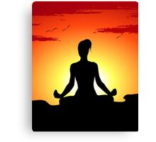 Female Yoga Meditating  Canvas Print